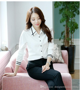 Designer Contracted Atmosphere Long Sleeve Shirts Students Girls Favorite Female Clothing Fashion Womens Lapel Neck Panelled Shirt