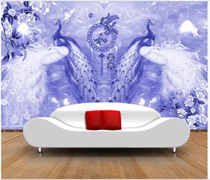 Custom photo wallpaper 3d mural wallpapers for living room Peony peacock flower living room mural TV background wall decoration painting