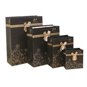 5PCS Red Stripes Noir Bow pois sac de papier cadeau boîte d'emballage commercial mariage anniversaire transporteur commercial sac-cadeau