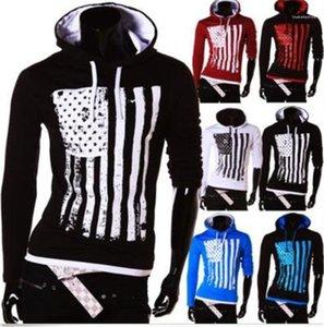 Abbigliamento Uomo Primavera US Flag uomini incappucciati magliette casual a maniche lunghe T per l'uomo 20ss