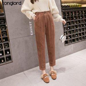 Tonglord Mulheres Corduroy Calças 2020 Vintage Fashion Inverno Quente Casual Plus Size Corduroy calças soltas Harem Pant Pantalon 5XL