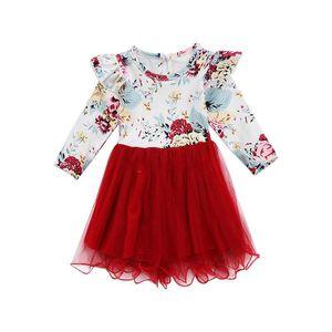 Baby Girls Floral Lace Mesh Dress Children Flying Sleeve Flower Print Princess Dresses Spring Autumn Boutique Kids Clothing