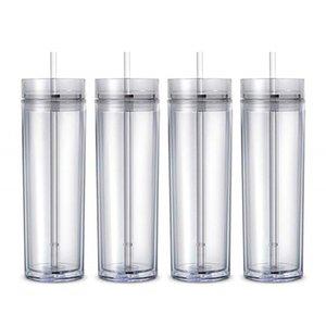 16oz Акриловая Сок чашка изолированный двойной Tumbler 6colors PP пластичный материал чашки два слоя соломы крышки крышки