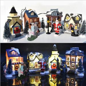 Regali di Natale per bambini Natale LED resina Glow Casa di Babbo Natale dell'albero di Natale di Natale Giocattoli decorazione domestica 10PCS / Set LSK1168