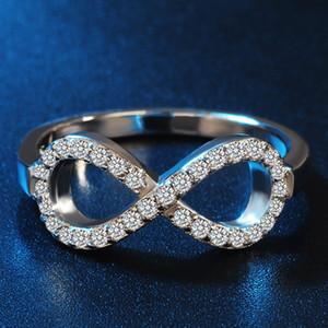 Простой для Infinity Symbol Женские кольца стали кольца Популярные нержавеющей стали с цирконом цвета серебра Rhinestone подарка ювелирных изделий