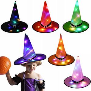 Happy Halloween Decoration Hat Ведьма светодиодные светящиеся огни Мастер Hat для Cosplay Halloween Masquerade партии костюма Деревообрабатывающий Реквизит 8 цветов