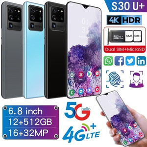 6.8 Inch Full Screen S30U+ 12+512GB Large Memory Dual Card Face Access Android 10.0 4G 5G Ten Core Phone