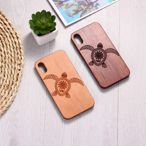 Suitable For IPhone11 XR XM Wooden Mobile Phone Shell Sea 8P Turtle Animal Samsung S10 Protective Cover Solid Wood Sticker Tpu
