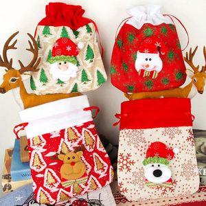 Рождественские украшения украшения Санта-мешки льняные нетканые сумки конфеты Drawstring Candy Bags Print Snowman персонализированные фестиваль