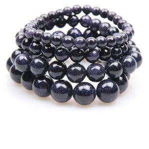 Charm Bracelets Natural Dark Blue Gold Sand Bracelet Men 6mm 8mm 10mm 12mm Beaded Brazalete Hombre Yoga Jewelry Armband Pulseras