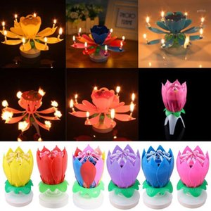 1PC Beautiful Blossom Lotus Flower Candle Birthday Party Cake Music Cake Topper Rotating Candles Decoration1