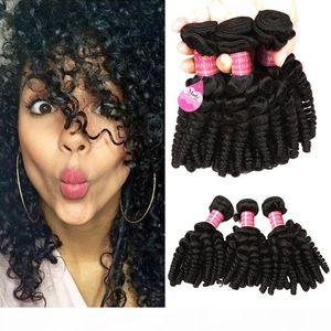 8A Brazilian Aunty Funmi Hair Weave Bouncy Curls Unprocessed Peruvian Malaysian Cheap Human Hair Extension Bundles 3pc Lot for Black Women