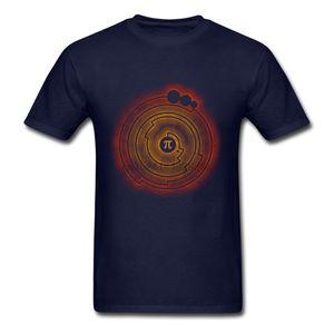 Pi Matemáticas hombre Classic Fit Manga corta camiseta cuello redondo 100% algodón hilado en anillos de cultivos de impresión personalizada Círculo camisetas para los hombres