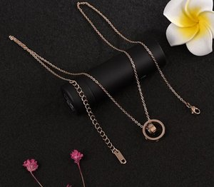 screws Ms. European and American fashion rose gold ring titanium steel double pendant necklace love00