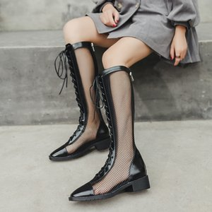 Summer Hollow-out Long Boots 2020 High Heel All-match Slimming Breathable Sandals Women's Short Boots Summer High-sleeved