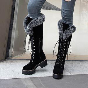 Karinluna dropship 2019 grande porte 43 inverno morno pele Sapatos mulher da neve ao ar livre botas Mulheres cadarços joelho botas de cano alto sapato feminino 200916