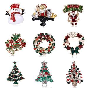 Nuova di Santa Brooch dell'albero di Natale pupazzo di neve perni gioielli Corpetto hip hop di cristallo strass Pin dell'albero di Natale Abbigliamento spille