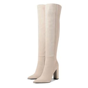 Faux Flock über das Knie Stiefel Frau Fashion Spitzschuh mit hohem Absatz Schenkel-hoher Stiefel weiblichen Winter warmer langer Stiefel Beige Schwarz LJ200919