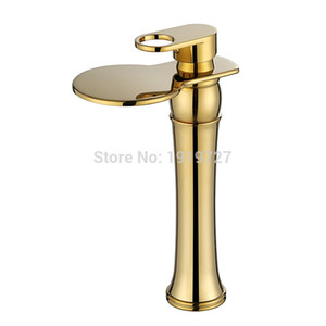 Vidric 100% Luxury Style Waterfall Spout Faucet Wels Vessel Sink Mixer Tap 2020 Factory Direct Lead Free Copper Golden