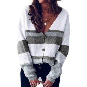 V-Ausschnitt-Taste Streifen Frauen Pullover für Herbst-Winter-Entwurf lose Strickjacke Matching Freizeit Farbe Pullover Langarm Stitc H3T7