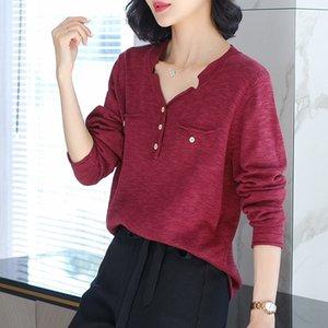 tUqOX lF0Uf Autumn Cotton Sweater lençóis de algodão temperamento das mulheres e linho V-neck bolso falsificado 2020 Outono cor inverno nova base camisa sólida