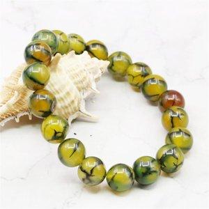 Fashion DIY Round 8 10mm Dragon Veins Agates Onyx Bangle Bracelet Beads Jewelry Making Natural stone 7.5inch Wholesale Price