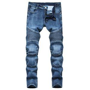 Unique Mens Straight Slim Fit Jeans Fashion Distressed Panelled Biker Denim Pants Big Size Motocycle Hip Hop Trousers For Male JB6507