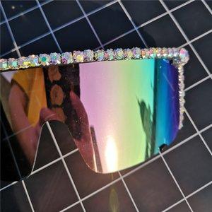 Übergroße Damen Diamant-Partei-Frauen-Sonnenbrille Luxus Sexy Diamant-Gläser UV400 Retro Designer-Marken-Schwarz Shade FML