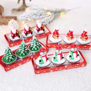 Vela de Navidad de Santa Conjunto del cono del pino de Santa muñeco de nieve en forma de fiesta de la boda sin humo vela víspera de Navidad Velas Decoración DHB1689