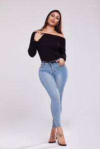 Sencilla mediados de cintura de los pantalones vaqueros para mujer de estiramiento Famale tejanos sólido de la manera de los pantalones del color adelgazan la pierna