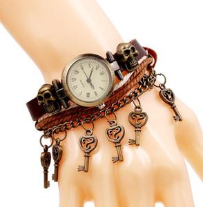 Hip Hop Punk Cowhide leather Quartz Watch bracelet Men Women Outdoor Cowboy Wristwatch Electronic Watches Retro Strap 2021 Gift
