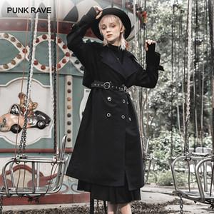 Gotik Casual Twostyle Kadın Hendek Coats Kuşaklar ile Yaka Uzun palto Turn-down PUNK RAVE Kız Çift katmanlı
