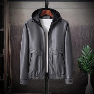2020 Sonbahar ve Kış Cüzdan yeni erkek deri giyim moda kapüşonlu PU deri ceket ceket basit düz renk her maç gençlik erkekler