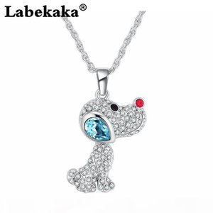 Labekaka Austrian crystal pendant necklace-warm-hearted puppy love animal jewelry clothing accessories