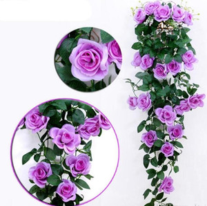 Rosas de seda artificial Rattan Fake Rose Parede Pendurado Garland Wedding Casamento Casa Flores Decorativas Garland Garland Owf3357