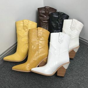 Beyaz Bej Siyah Sarı Sahte Deri Kadınlar Kama Yüksek Topuk Boots Snake için Kovboy Bilek Boots Batı Cowgirl Boots 2019 T200909 yazdır