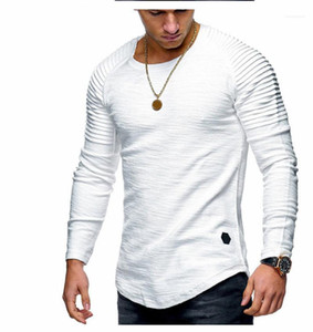Ruched Long Sleeve Tees Casual Mens Tshirts 19AW Mens Designer Tshirt Fashion Crew Neck Solid Color