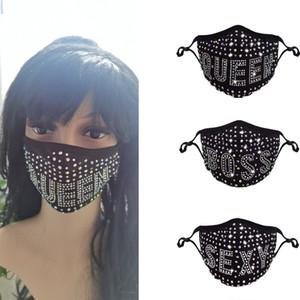 Kadınlar HHC2029 için Yapay elmas Izgara Net Yıkanabilir Seksi Hollow Mask Elmas Parti'yi Bling yüz maskesi Kraliçe Boss Seksi Renkli Mesh Maskeler