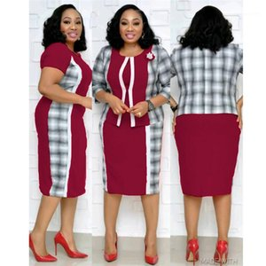 Piece Dresses Applique Half Sleeved Crew Neck Plus Size Female Tracksuits Ladies Designer Tracksuits Plaid Panelled Two