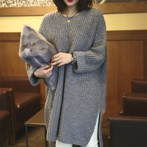 2020 Autumn and Winter New Knitted Dress Long-sleeved Bat Sleeve Solid Color Round Neck Pullover Sweater Women