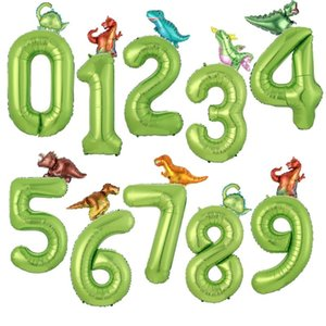 40inch Dinosaur Party Big Number Foil Balloon Jungle Party Helium Balloon Boy Baby Shower Birthday Globos Decorations