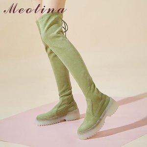Meotina Sonbahar Over The Knee Boots Kadınlar Kid Süet Düz Platformu Uyluk Yüksek Boots Perçinler İnce Stretch Ayakkabı Bayanlar Yeşil Boyut 39