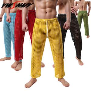 Hommes Sexy creux Long John Gay Sexy nuit Big Mesh See Through Homewear Leggings en vrac Pyjama confortable Sous-vêtements pour hommes