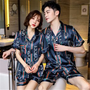 Vintage Printed Sexy Couple Flower Printed Sleepwear Top Grade Ice Silk Super Soft Pajamas High Quality Casual Home Nightgowns Two 1Pcs S#721