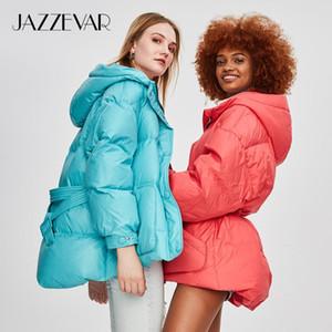 JAZZEVAR 2020 Winter New Fashion Street Designer Brand Womens White Duck Down Jacket Pretty Girls Outerwear Coat With Belt T200911