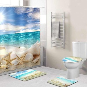 Bathroom Beach Sea Shells Starfish Pattern Waterproof Shower Curtain Non-Slip Toilet Mats Rugs Set Bathroom Curtains With Hooks