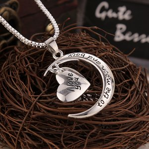 Lovely romantic I Love you to the moon necklace for girls couples lovers Fashion popular designer Letter pendant necklace for women