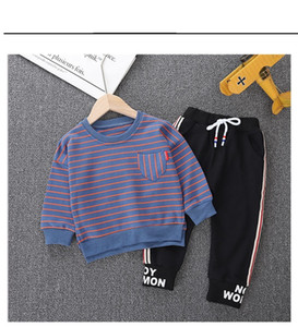 2020 Spring Autumn Baby T-shirt Pants 2Pcs Suits Toddler Tracksuits Children Boys Girls Striped Style Clothing Sets Kids Clothes