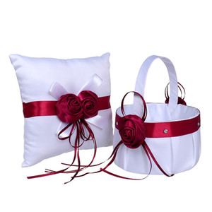 2020 Girl Boy Flower Basket con cuscini per matrimoni Handmade Cerimonia di nozze cerimonia per cerimonia di nozze Forniture Ribbon Lace Girl Piuma Cesti