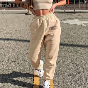 gündelik kadınlar Beyouare sweatpant pamuk mektup yazdırma yaz elastik yüksek bel pantolon kargo pantolon, gündelik kıyafet pantolon 2020sporting